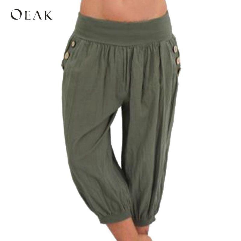 OEAK Women 5XL Plus Size Loose   Pants   Buttons Casual Elastic Low Waist Harem   Pants     Capris   Female Solid Trousers Summer Pantalones