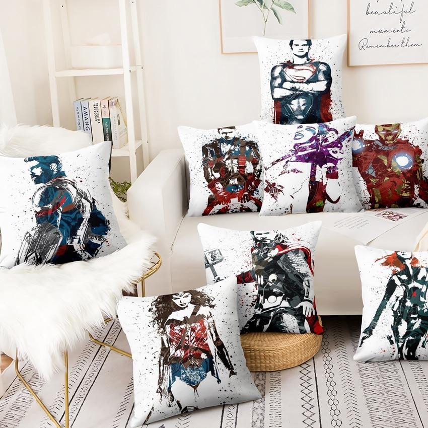 Marvel Surrounding Abstract Illustration Pillowcase Avenger League Superhero Home Pillow Decoration Sofa Throw Pillows Almofadas