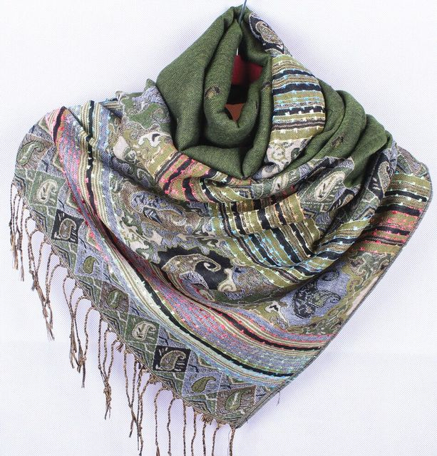 Green Women's Reversible Two-Face Shawl Pashmina Silk Scarf Wrap Scarves Size 70x190cm WS-020