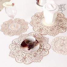 Proud Rose полые чашки с вышивкой коврики подставки тканевая коробка крышка для дома 4 шт. Настольный коврик чаша коврик креативный коврик для стола салфетка