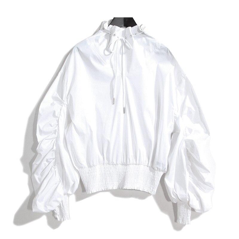 Nueva Mujeres Del Resorte Solid Negro Blanco blusa camisa Linterna Larga de la M