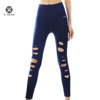 X HERR New Arrival Fitness Legging Hollow Out Holes Design Women Pants Well Elastic Breathable Full