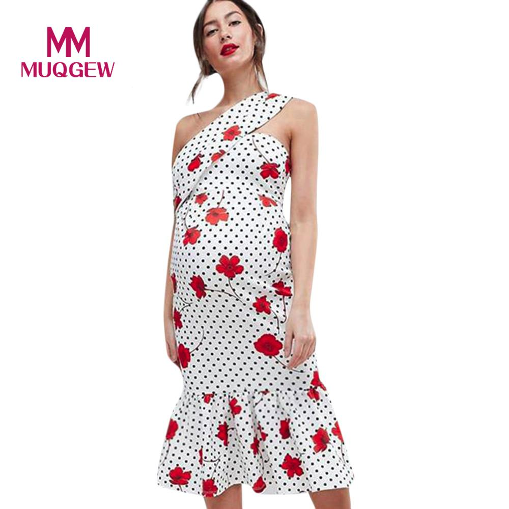 Women Mother High Quality Floral Falbala Sloping Shoulder Pregnant Dress Maternity Clothes Hot Selling