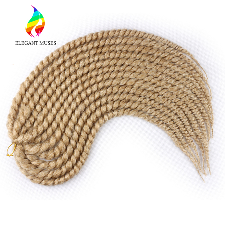 ELEGANT MUSES 12'' 18'' 24'' Mambo Twist Crochet Braiding Hair Extensions Synthetic Fiber Braids Hair in Pure 1b/4/27/33/613#