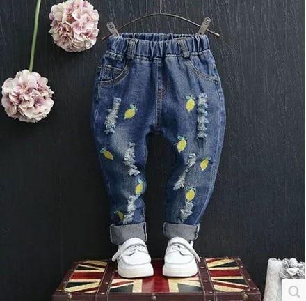 Весной и Осенью дети ребенок lemon вишня вышивка отверстие брюки девушки джинсы