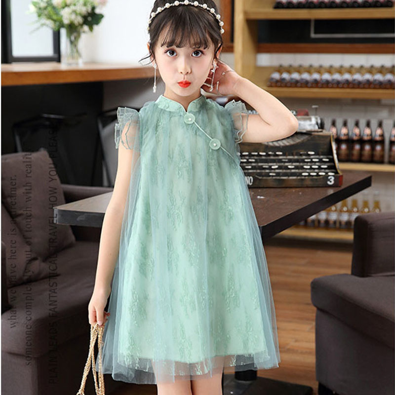 mesh baby girls dress summer 2018 spring a line green pink teenage dress princess Chinese style children clothing