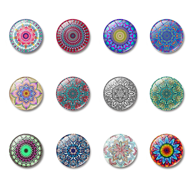 Mandala Pattern Fridge Magnet Suit 25 Mm Cartoon Glass Refrigerator Magnetic Sticker Home Decor Christmas Gift