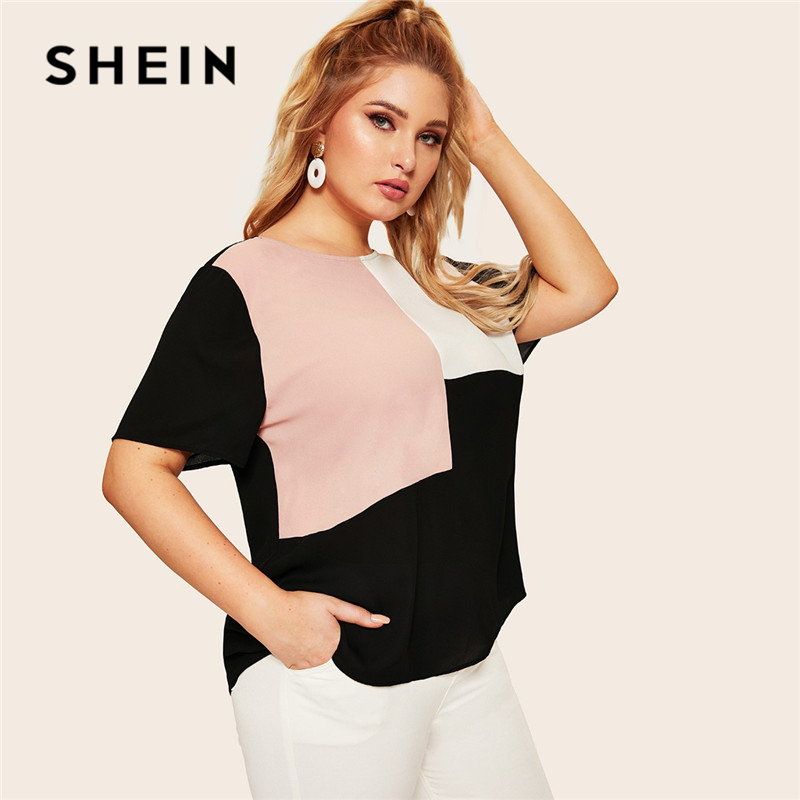 d140e6c7f SHEIN Plus Size Keyhole Back Cut-And-Sew Women Blouse Summer Casual  Colorblock Round Neck Short Sleeve Blouse Ladies Tops