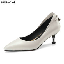 NNEMAONE Women Pumps Fashion Pointed Toe Genuine Leather Stiletto High Heels Shoes Spring Summer Wedding Shoes Woman Party Pumps