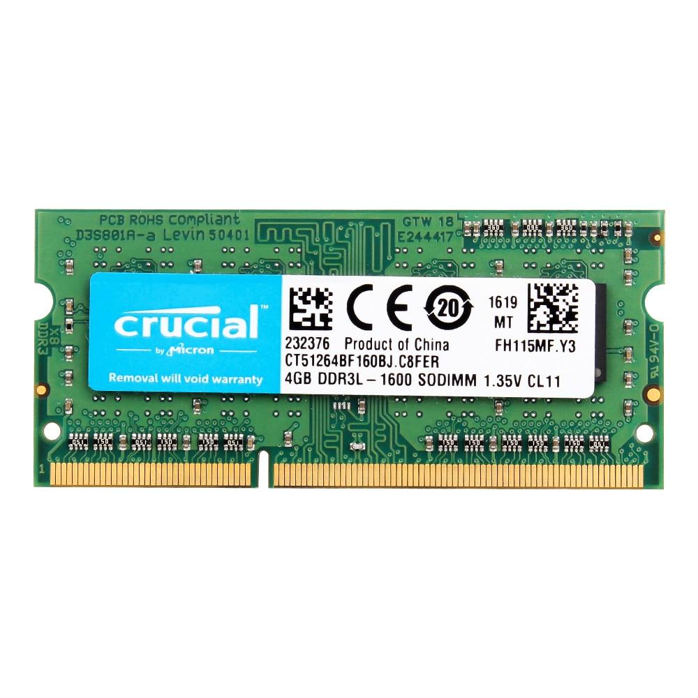 Crucial Laptop Geheugen 8GB = 2 STUKS * 4G PC3L 12800S DDR3L 1600HMZ 4GB laptop RAM 1.35V