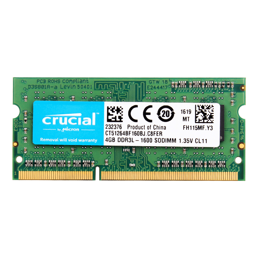 Crucial Laptop Memory 8GB=2PCS*4G PC3L 12800S DDR3L 1600HMZ  4GB Laptop RAM    1.35V