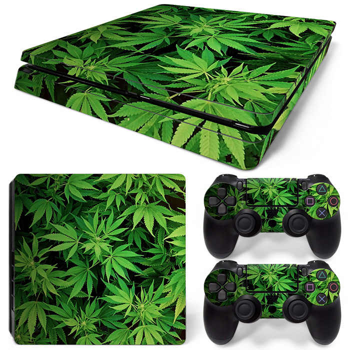 green leaves design skin sticker for PS4 slim console and two controller covers #TN-P4Slim-0186