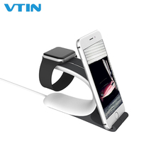 2-in-1 Charging Bracket Phone Holder Stand Smart Dock Station For iPhone Grey Color