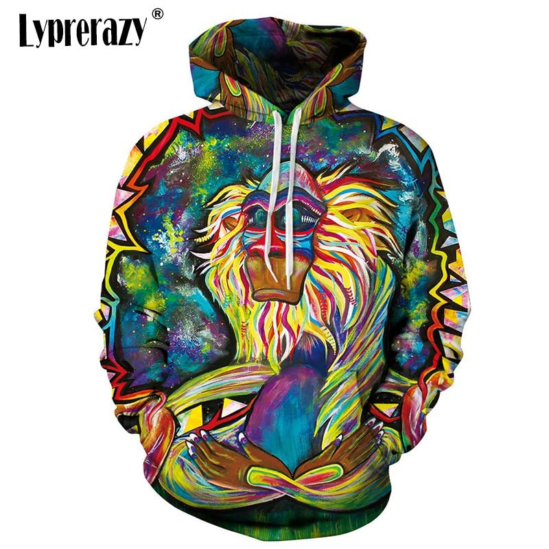 Honey Lyprerazy Monkey Vibrant Colors 3d Print Womens Mens Hoody New Fashion Hoodies Art Oil Spill Sweatshirt Refreshing And Enriching The Saliva Hoodies & Sweatshirts