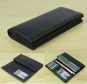 Image 1 - Factory Price Cowhide Genuine leather Mens wallet long clutch Bag Genuine Leather wallet Purse Coin Bag Money Clip Black WL004