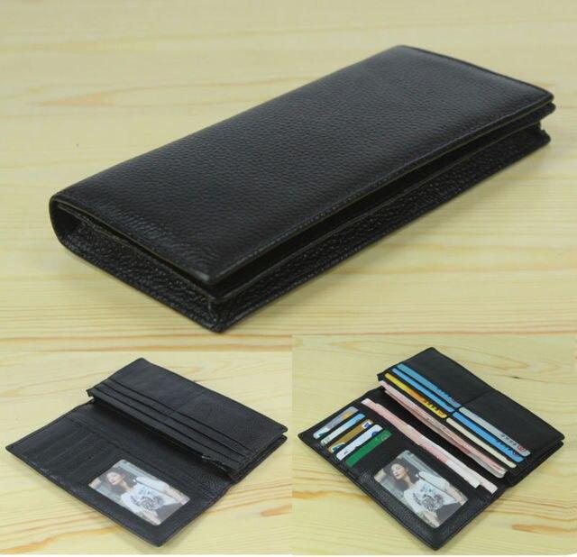 Factory Price Cowhide Genuine leather Mens wallet long clutch Bag Genuine Leather wallet Purse Coin Bag Money Clip Black WL004