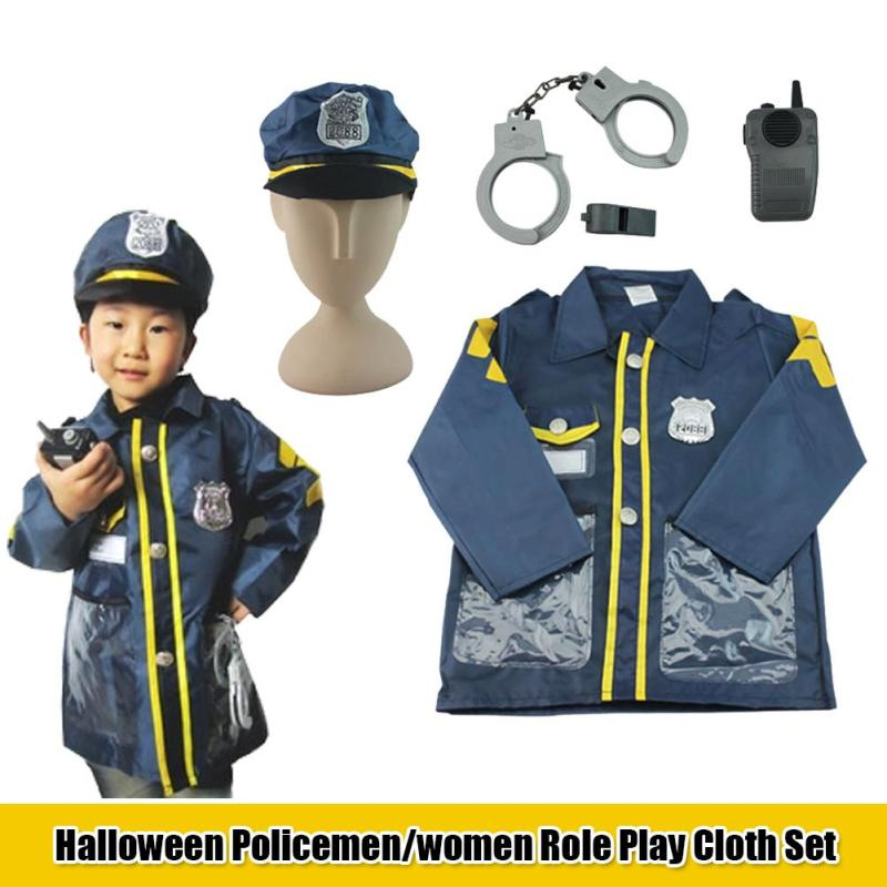 Children Police Officer Patrol Cop Cosplay Costume Fancy Halloween Performance Clothes Outfits For Kids Gifts C2