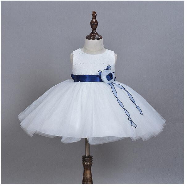 bab350a907 Dziecko dziewczyny pageant sukienki wizytowe 2017 chrzest kwiaty słodkie  dziecięce dziewczyny princess tutu dress gaza suknie