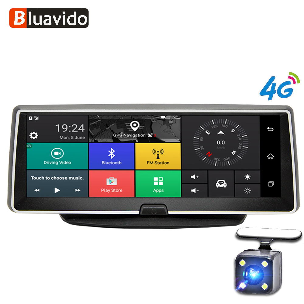 Bluavido 8 Inch car dash camera 4G Android GPS Navigation ADAS FHD 1080P car dvr video