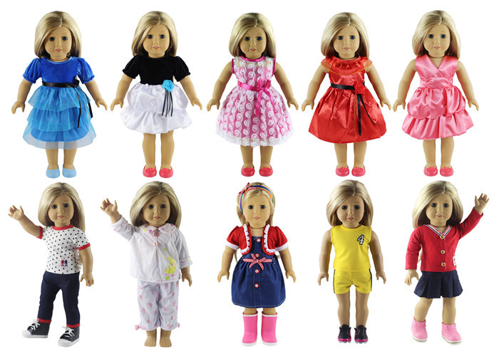 New Style 10 Set Doll Clothes for 18 Inch American Girl Handmade Casual Wear american girl doll clothes elegant color flower print long dress doll clothes for 18 american girl best gift 5 colors d 2