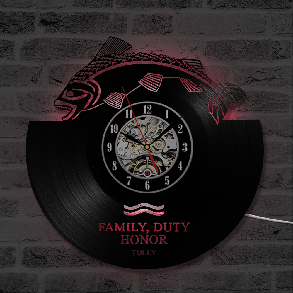 Horloge Murale Decorative Modern Design Hollow Fish CD Vinyl Record Clock Game of Thrones Family HBO Movie Antiuque LED Clock