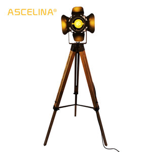Image 2 - Led wood floor lamp Tripod American Loft Adjustable Bedside Floor lights stand lamp with lampshade home lighting for living room