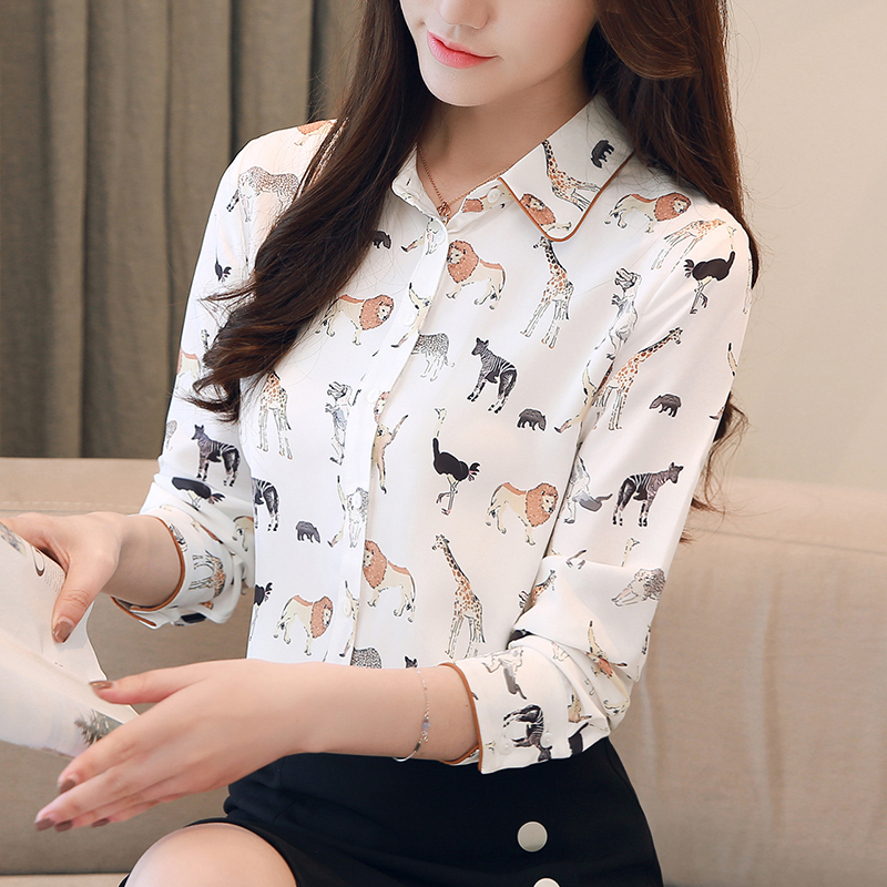 Cute Animals Print Women   Blouse   New   Shirt   Top Turn-down Collar Long Sleeve Top S-XXL White   Blouse   blusas feminina T80291