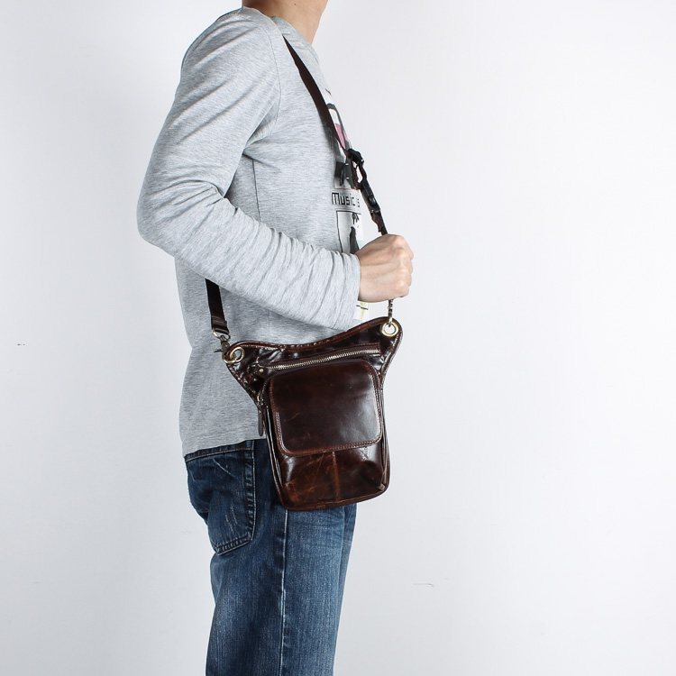 Real Leather Men Design Casual Messenger Crossbody Sling Bag - Bälten väskor - Foto 5