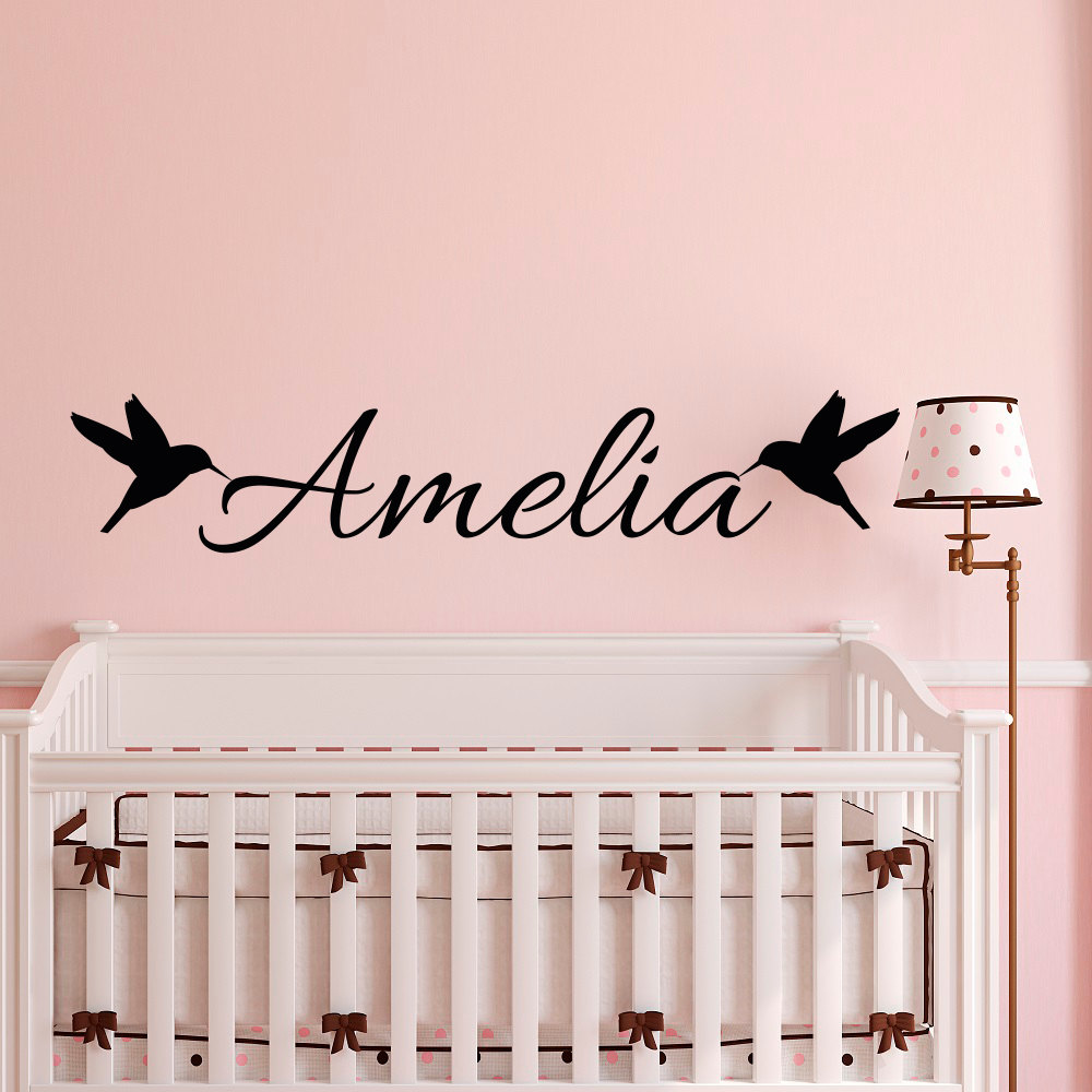popular girl wall decals buy cheap girl wall decals lots from customize name with bird wall sticker for kids room bedroom baby nursery boys girls wall decals