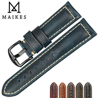 MAIKES Watch Accessories Fashion Blue Watchband 22mm 24mm 26mm Genuine Vintage Oil Wax Leather Watch Strap