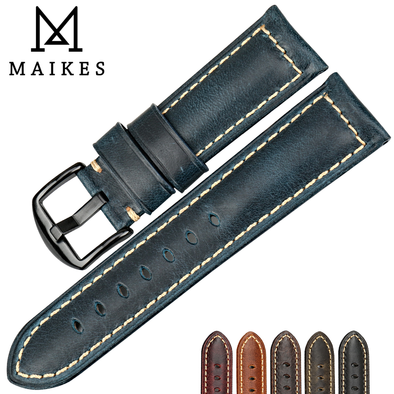 MAIKES Watch accessories fashion blue watchband 20mm 22mm 24mm 26mm vintage oil wax leather watch strap for Fossil watch band eache 20mm 22mm 24mm 26mm genuine leather watch band crazy horse leather strap for p watch hand made with black buckles