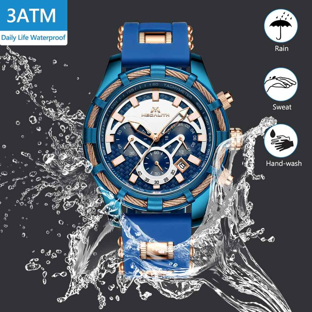 MEGALITH גברים שעונים למעלה מותג יוקרה תצוגה זוהרת עמיד למים שעונים ספורט הכרונוגרף קוורץ שעון יד Relogio Masculino