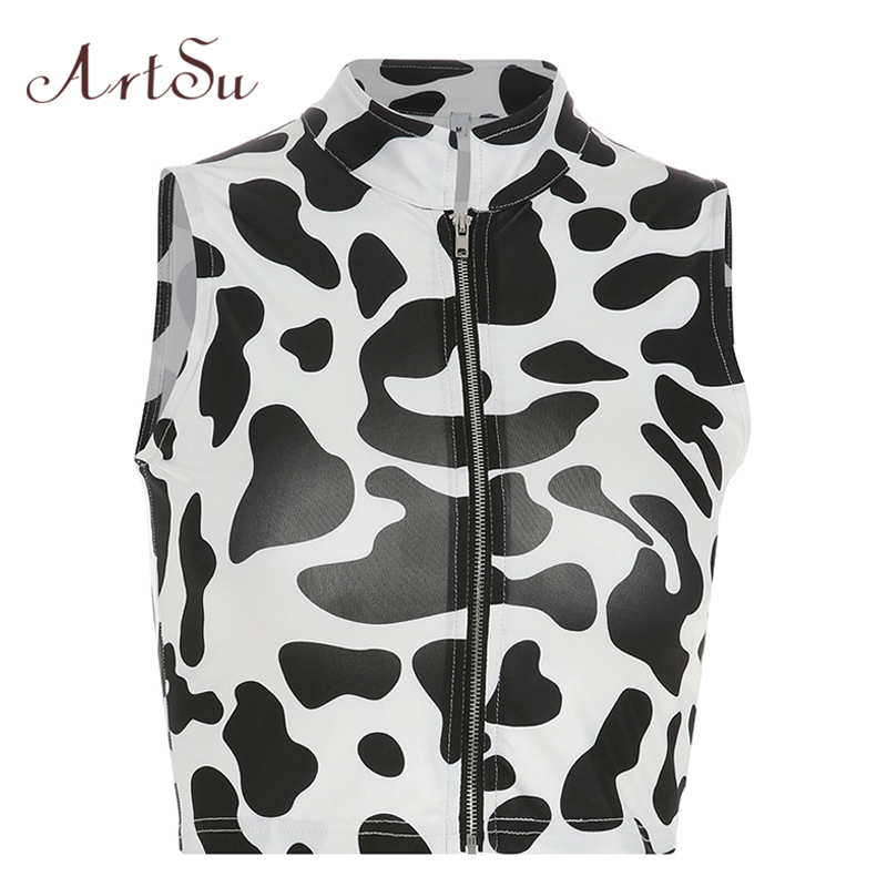 ArtSu Cow Printed   Tank     Top   Sleeveless Bralette Crop   Top   Women Harajuku Zipper Sexy White Black Casual   Tops   Streetwear ASVE20531