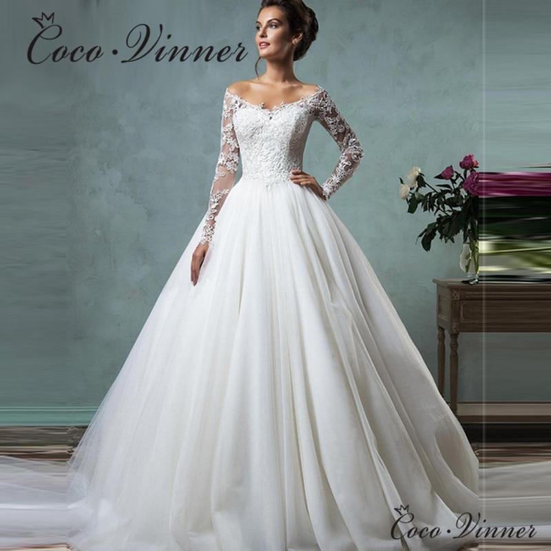 Vestido De Novia 2019 Cheap Lace Wedding Dress Long Sleeve Fall Winter Bridal Gowns Plus Size Vintage Robe De Mariage W0027