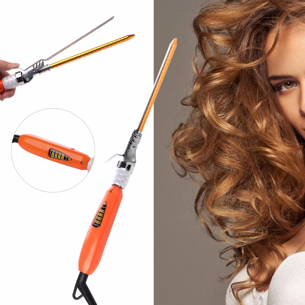 9mm Rotating Electric Hair Salon Curler Tool Ceramic Curling Iron Wand