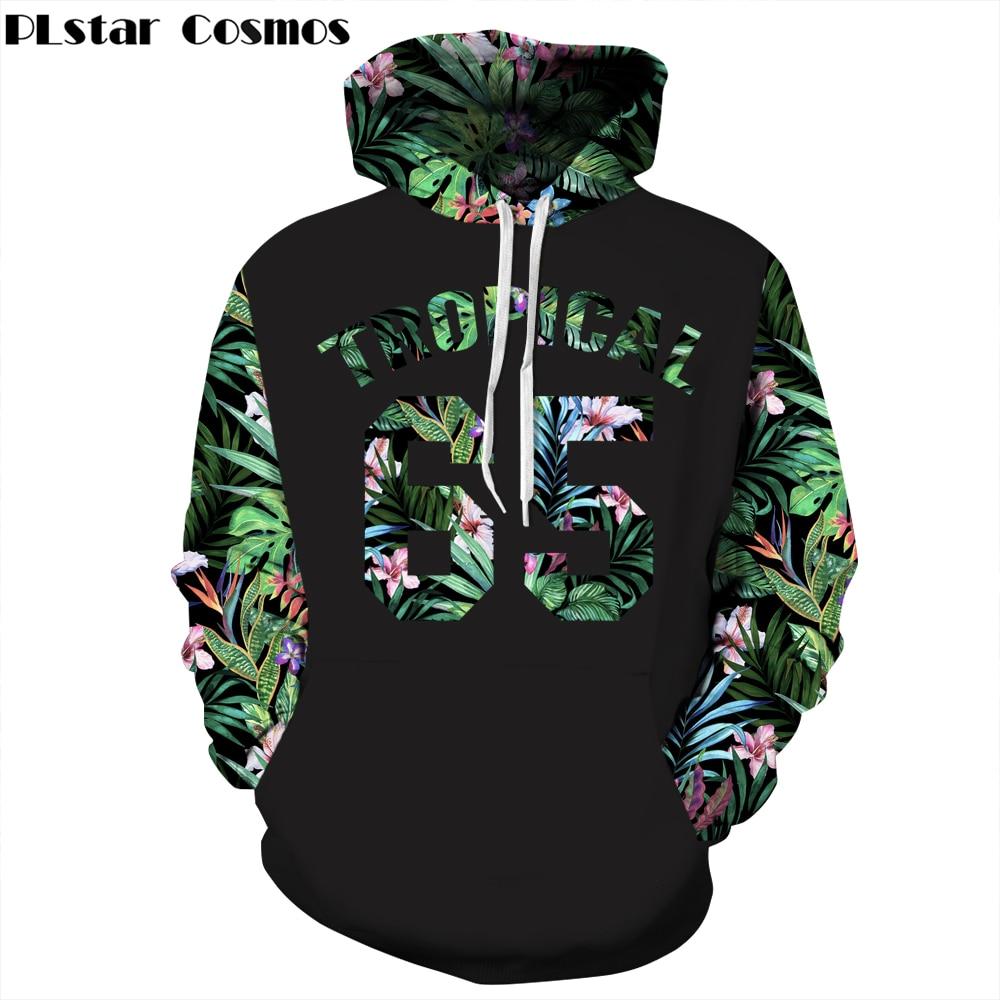 PLstar Cosmos Free shipping Autumn Fashion Men/Women Hoodies Red Flowers Green Leaves 3d Print casual Hooded Sweatshirts