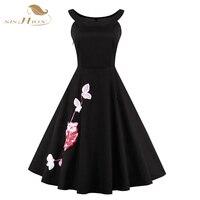 Sishion cuenta con dress 4xl más el tamaño bordado floral de la vendimia 50 s 60 s rockabilly swing vestido de partido de tarde elegante little black dress vd0376
