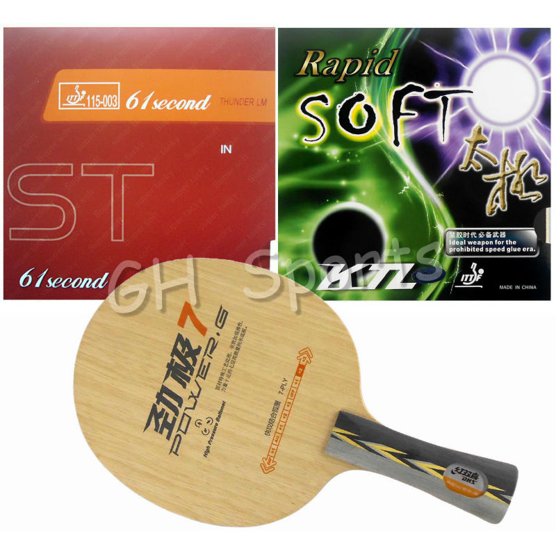 ФОТО DHS POWER.G7 PG7 PG.7 PG 7 Table Tennis Blade With 61second LM ST and KTL Rapid-Soft Rubber With Sponge for a Racket
