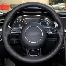 Steering Wheel Cover Case for AUDI A1 A3 A4 A5 A7 Steering Covers DIY Genuine Leather Car Styling Black
