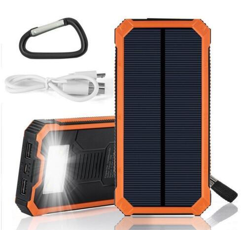 Universal 12000mAh Solar Charger Waterproof Solar Panel Battery Chargers for smart Phone iphone7 Tablets Mobile Power Bank