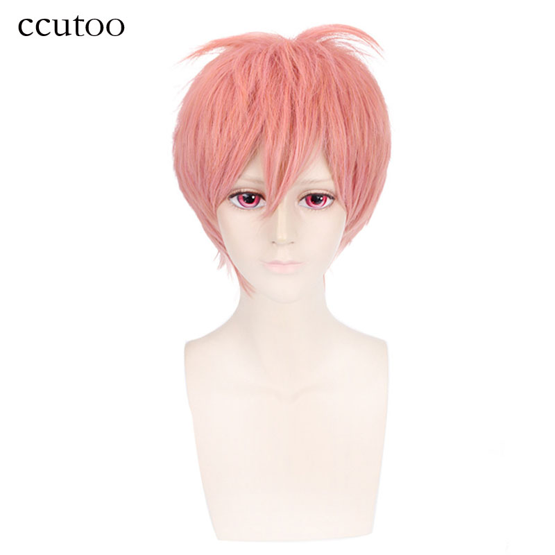 ccutoo Men Short Pink High Temperature Fiber Cosplay Wig Straight Synthetic Fluffy Costume Party Wig