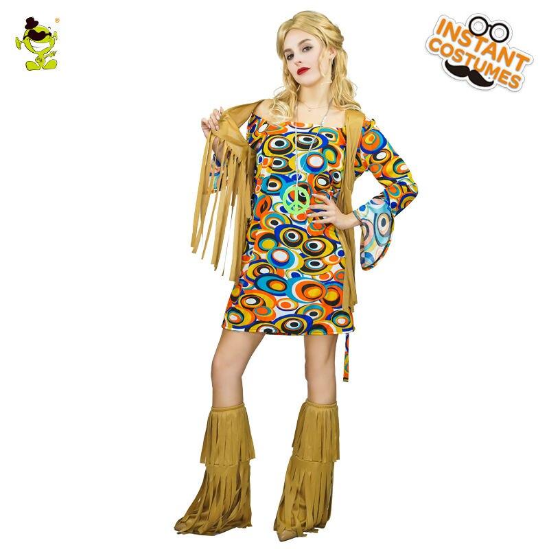 Women's Retro Hippie Dance Costume Women's Arrivals 60's Party Hippie Cosplay Fancy Dress Costumes