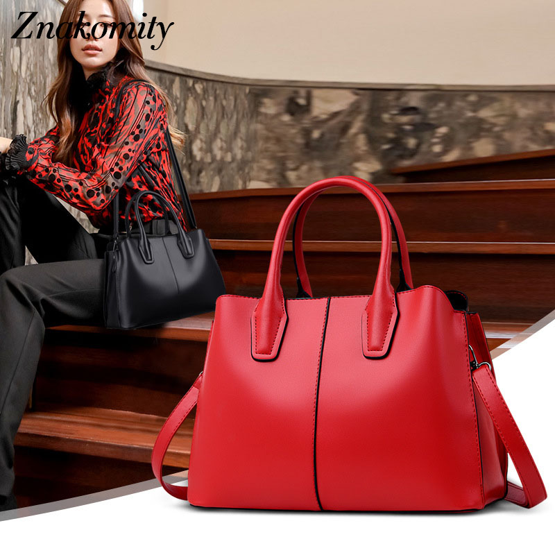 Znakomity Casual tote bag ladies Women s handbag genuine leather messenger shoulder bag female Brown top