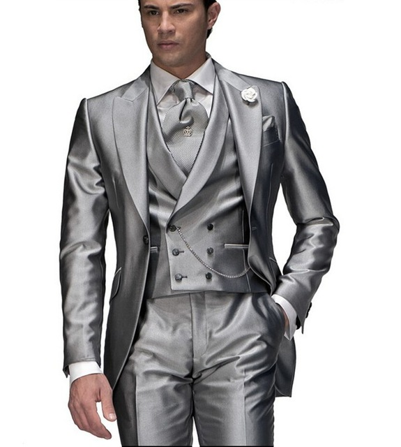 Custom Made Wedding Suits For Men Tuxedos Designs Mens Suits With Pants gray Peak Lapel Groom ( jacket+Pants+vest+tie)