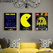Pacman Think винтажные видеоигры рекламный плакат ретро декоративные DIY наклейки на стену искусство домашний бар Плакаты Декор подарок