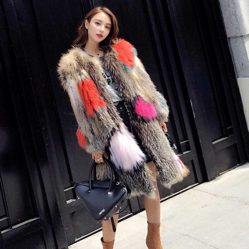 Flamme de la reine de fourrure de renard vêtements femme modèle long manteau de fourrure bloc de couleur tricoté à manches longues