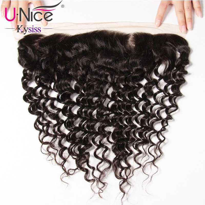 UNice Hair 8A Kysiss Virgin Series Brazilian Deep Wave Lace Frontal Closure 13*4 Ear To Ear Pre Plucked 100% Human Hair Closure