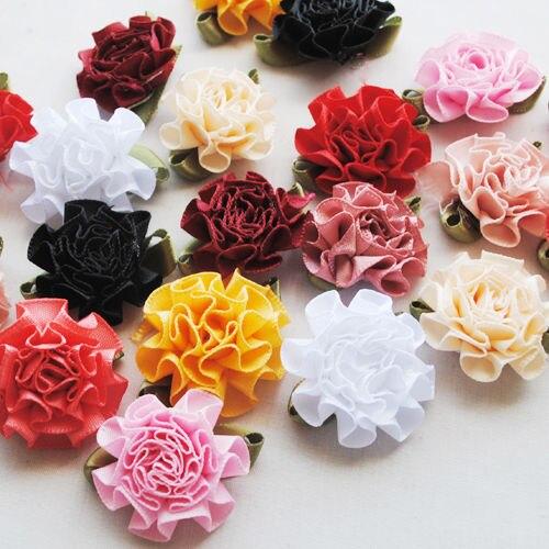 30pcs Ribbon Flowers Bows Carnation Appliques Craft Wedding Decor Lots Mix 30MM