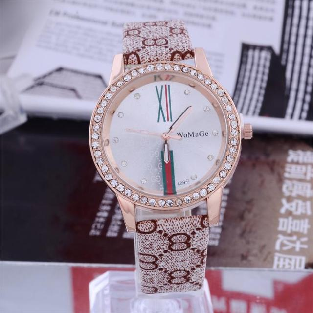 Women Rhinestone Watches Retro Roma Number Marks WOMAGE Brand Ladies Leather Wat