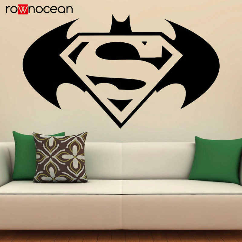 Batman Superman Wall Decal Comics Emblems Vinyl Stickers ...